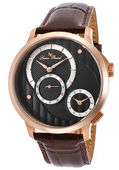 Lucien Piccard Messina Brown Genuine Leather Black Dial Rose-Tone Stainless…