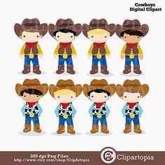 Cowboys digital clipart / Little Cowboys Clip art / by ClipArtopia