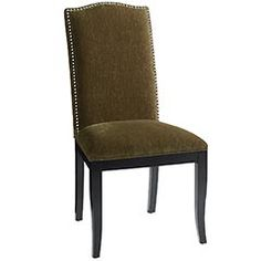 """""""Niles"""" camelback chair, $169.95 in olive velveteen with black legs, 20.5 W x 25D X 40H  birchwood pierone.com"""