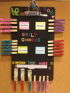 Smart and easy DIY chore chart ideas for multiple kids.  Love the use of clothespins and the money chore payments in the 'work for hire' area.  The whole thing is made on a big clipboard.  Genius!