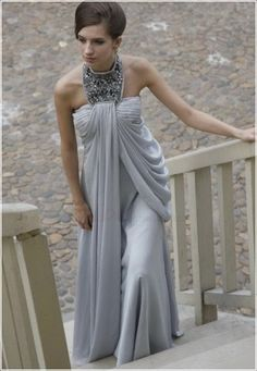 Cheap Discount Plus Size Grey A-line/Princess High Neck Chiffon Long Maternity Evening Dresses Gowns 2013 Under 200 With Beading - USD$189.9900: chouchoudress.com