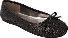 Stylish and fun glitter and sequin ballet flat with bow detail at toe.