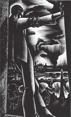 """""""Working with a woodblock takes on the aspects of a struggle between antagonists. The wood is reluctant, the artist determined."""" —Lynd Ward"""