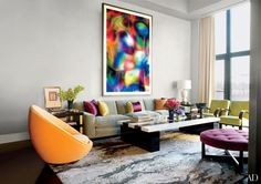 Thomas Ruff's photograph Substrat 24 I dominates the living room of designer Jamie Drake's Manhattan apartment, whose walls are painted in Benjamin Moore's Sidewalk Gray, with a Venetian-plaster finish by the Alpha Workshops.