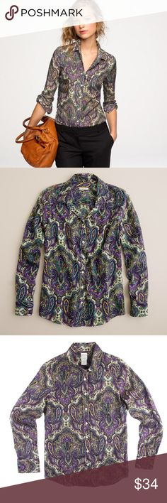 "JCREW Perfect Shirt in Royal Paisley Semi Sheer Excellent condition! This perfect shirt in royal Paisley from JCREW features button closures and is semi sheer. Made of 57% cotton and 43% silk. Measures: bust: 35"", total length: 26"", sleeves: 24"" J. Crew Tops Button Down Shirts"