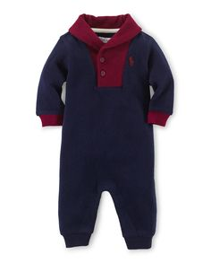 Ralph Lauren Childrenswear Cotton Colorblock Coverall, French Navy, Size 3-12 Months