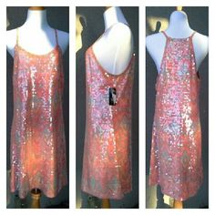 Tangerine Sequin Dress Sexy, fun and simple in tangerine, oranges, pinks, yellows, and silvery soft blue, covered in clear sequins. Fully lined. A little snag in the lining near the inside label. Tag still attached. A few clear sequins are missing here and there, quite unnoticeable, probably due to having been tried on. I actually have two of these, identical in color and size. I'll list the other soon. :) INC International Concepts Dresses