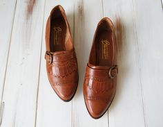 SIZE 8 1/2 Vintage Brown Leather Fringed Loafers by 601VINTAGE, $45.00