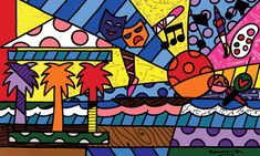 Romero Britto - One of my favorite contemporary artists Modern Artists, Contemporary Artists, Hallway Displays, Graffiti, Mural Painting, Paintings, Space Theme, Arte Pop, Painted Pots