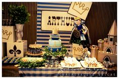Rei Arthur Birthday Table, Baby Shower, Table Decorations, Sweet, Party, Kids, King Arthur, Tables, Lounge