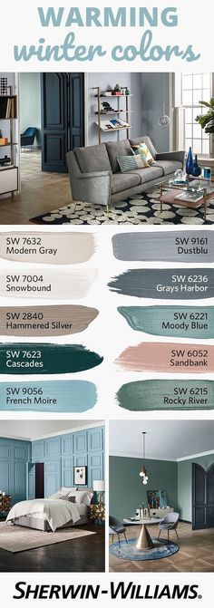 Paint Colors Sherwin Williams SW 7632 Modern Gray Sherwin Williams SW 9161 Dustblu Sherwin Williams SW 7004 Snowbound Sherwin Williams SW 6236 Grays Harbor Sherwin Williams SW 2840 Hammered Silver Sherwin Williams SW 6221 Moody Blue Sherwin Williams SW 7623 Cascades Sherwin Williams SW 6052 Sandbank Sherwin Williams SW 9056 French Moire Sherwin Williams SW 6215 Rocky River