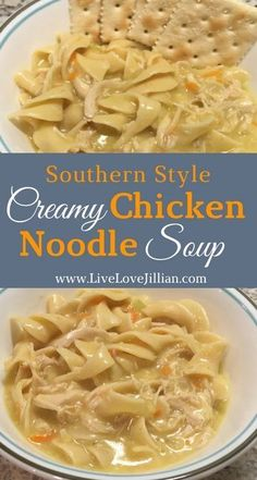 (Minus noodles) This creamy chicken noodle soup has all the characteristics of comfort. It reminds you of home with its creamy texture and hints of garlic and butter. Cozy up and enjoy a bowl of this amazing chicken soup today. Crack Chicken Noodle Soup, Chicken Soup Recipes, Cream Of Chicken Soup, Chicken Noodle Soups, Turkey Noodle Soup, Homemade Chicken Soup, Chicken Noodle Casserole, Hamburger Recipes, Butter Chicken
