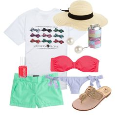 A collage from Polyvore -- this makes me want to go to the beach and tan and walk the board walk and see my fam!