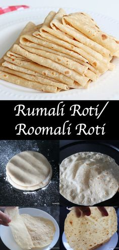 """Rumali Roti , a extremely thin flat bread made from the combination of wheat flour and maida. Rumal means handkerchief in many north indian language, since this roti is so thin to fold like handkerchief, it got the name """"Rumali Roti"""". Indian Desserts, Indian Snacks, Indian Dishes, Indian Food Recipes, Indian Foods, Breakfast Recipes, Snack Recipes, Cooking Recipes, Cooking Tips"""