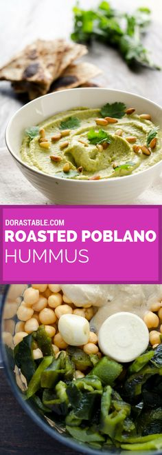 In this Roasted Poblano Hummus, from Jeni's book The Vegan Mexican Cookbook, the. In this Roasted Poblano Hummus, from Jeni's book The Vegan Mexican Cookbook, the smoky flavor of Vegan Mexican Recipes, Veggie Recipes, Vegetarian Recipes, Cooking Recipes, Healthy Recipes, Vegan Appetizers, Vegan Snacks, Appetizer Recipes, Dinner Recipes