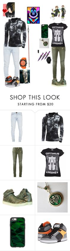 """""""Jackson and Pidge"""" by bumble-bucky ❤ liked on Polyvore featuring Fear of God, Balmain, GREEN DRAGON, Casetify, Osiris and Swiss Legend"""
