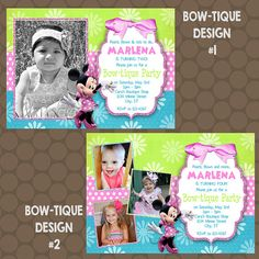 Minnie Mouse Bowtique Bow-tique Birthday Party Invitations Printable Uprint Digital Printed * 4 designs * by KDesigns2006 Minnie Mouse Birthday Invitations, Minnie Mouse 1st Birthday, Uprint, Baby Shower Invitations, Rsvp, First Birthdays, Bows, Handmade Gifts, Etsy