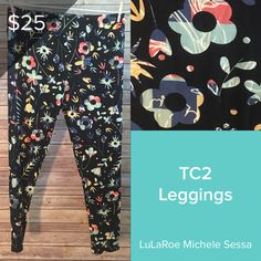 2a42b7e8d34e41 New LuLaRoe TC2 Leggings with a floral print. These plus size leggings are  super comfy
