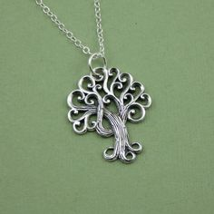 Swirly Tree Necklace sterling silver pendant by TheZenMuse, $39.00