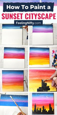 How to Paint a Sunset Cityscape For Beginners (Easy) - - Have you always wanted to learn how to paint a sunset? Check out the step-by-step tutorial on how to paint an easy sunset cityscape with beginner techniques. Easy Canvas Art, Simple Canvas Paintings, Small Canvas Art, Mini Canvas Art, Easy Paintings, Sunset Paintings, Kids Canvas, Portrait Paintings, Abstract Portrait