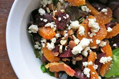Beets with Oranges & Feta, add mint leaves & pistachios or almonds, scallions, salt, ground pepper. In a large bowl whisk together 1/4 cup red wine vinegar (or white balsamic if you have it) with 1/4 cup extra virgin olive oil, 1 teaspoon Dijon mustard, salt, pepper, and a sprinkle of sugar. Amounts to taste: Add greens, cooked beets (roughly chopped), oranges (sliced or supremed if you are man enough), almonds or pistachios, a few chopped mint leaves, a sprinkling of feta, a handful of…