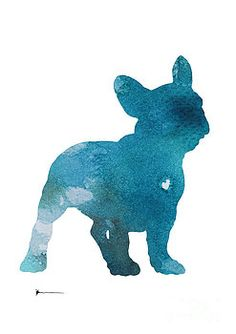 Abstract french bulldog silhouette watercolor art print painting by Joanna…