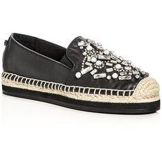 Botkier Sloan Embellished Platform Espadrille Flats ($95) ❤ liked on Polyvore featuring shoes, flats, black, black flat shoes, espadrille shoes, black espadrilles, platform flats and black shoes