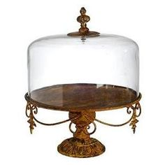 Glass Cloche w/ Stand: Create a beautiful glass-enclosed garden with this stylish, elegant Glass Cloche w/ Metal