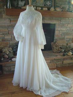 Wedding Dresses Vintage: Vintage Wedding Dress Chiffon With Alencon Lace Bodice 1970s Wedding Dress, Muslim Wedding Dresses, Lace Wedding Dress, Lace Dress, Prom Dresses, Chiffon Dress, Wedding Vintage, Gothic Wedding, Muslimah Wedding Dress
