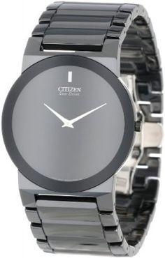 Relógio Citizen Unisex AR3055-59E Eco-Drive Black Ceramic Stiletto Blade Watch #Relogios #Citizen