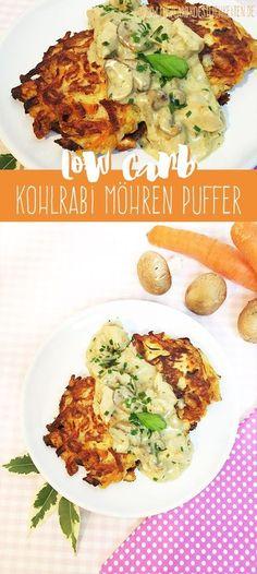Knusprige Low Carb Kohlrabi Möhren Puffer an Zürcher Geschnetzeltes www.lowcarbkoestlichkeiten.de #glutenfrei