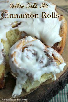 Yellow Cake Mix Cinnamon Rolls - Garden Seeds and Honey Bees Cinnamon Roll Muffins, Best Cinnamon Rolls, Cinnamon Recipes, Bread Recipes, Baking Recipes, Cake Recipes, Yellow Cake Mix Cookies, Yellow Cake Mixes, Cake Mix Desserts