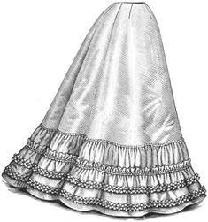 Petticoat 1896. Ladies gored petticoat-skirt with ruffle-bordered, bias Spanish flounce forming the lower part. Made of Taffeta silk.