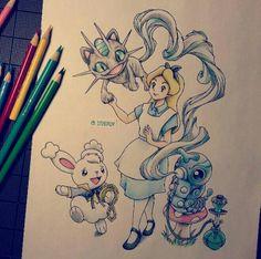 Alice in wonderland/Pokemon crossover by itsbirdy on Instagram