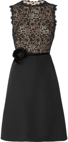 VALENTINO  PARIS Silk-crepe and Lace Dress
