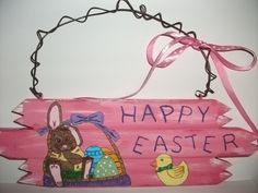 Happy Easter Sign, hand painted