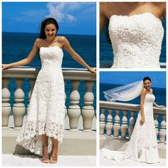 Free Shipping!!! MW1053 Popular Strapless White Re-Embroidered Lace Overlay Tea Length Wedding Dress Detachable Skirt $180.00