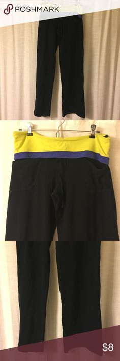 Cute comfy workout/yoga pants Super soft, comfortable workout/yoga pants with stretch. Lime green & blue foldover waistband. In great condition. Has pockets and drawstring. Forever 21 Pants Track Pants & Joggers