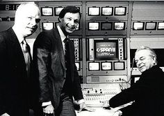Sen. Robert Byrd (right), C-SPAN's founder Brian Lamb (left) and Paul FitzPatrick flip the switch for C-SPAN2 on June 2, 1986. FitzPatrick was C-SPAN president at the time.