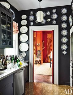The pantry of architect Alison Spear's Hudson Valley, New York, home is outfitted with a pendant light and heirloom china; the dishwasher is by Miele. Architectural Digest, Pantry Design, Kitchen Design, Storage Design, Kitchen Pantry, Kitchen Decor, Room Kitchen, Diy Kitchen, Kitchen Interior