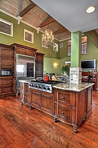 nice kitchen and pitched wood ceiling