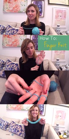 Quick and easy finger knitting tutorial.