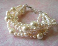 @Andrea Roman Chunky Pearl Bracelet Pearl Bracelet Ivory by PearlyJaneBridal, $26.00