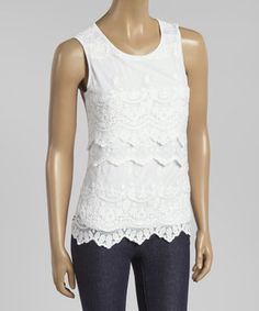 8ea88b4d799 This White Lace Tier Sleeveless Top by Simply Irresistible is perfect!   zulilyfinds Jeans With
