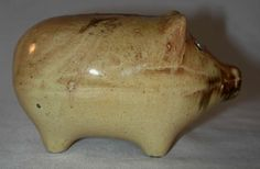 Old Pottery Still Penny Bank Two-Tone Pig or Piggy Marked 211