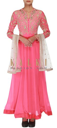 Buy Online from the link below. We ship worldwide (Free Shipping over US$100) http://www.kalkifashion.com/pink-anarkali-embellished-in-zari-only-on-kalki.html