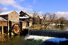 The Old Mill in the winter months. This area in Pigeon Forge is beautiful year around!