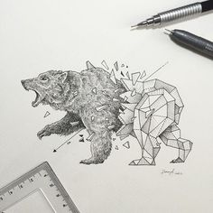 Risultati immagini per bear tattoo geometric Geometric Wolf, Geometric Drawing, Geometric Bear Tattoo, Geometric Sleeve, Geometry Tattoo, Animal Drawings, Art Drawings, Drawing Art, Art Minimaliste
