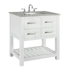 Home Decorators Collection Fraser 31 in. W x 21.5 in. D Vanity in White with Solid Granite Top-0417710410 at The Home Depot
