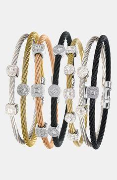 Charriol 'Classique' Square Diamond Station Stackable Bracelet (Save on Stackable Bracelets, Diamond Bracelets, Diamond Jewelry, Bangle Bracelets, Bangles, Black Bracelets, Jewelry Box, Jewelry Accessories, Fine Jewelry